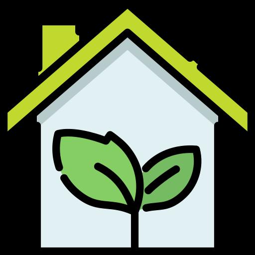 Tekening van een huis met een groen dak en plantje in het midden