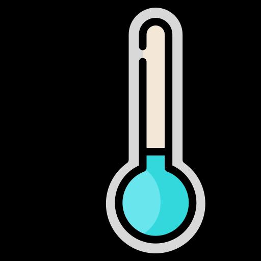 Een tekening van een blauwe thermometer met een sneeuwvlokje ernaast