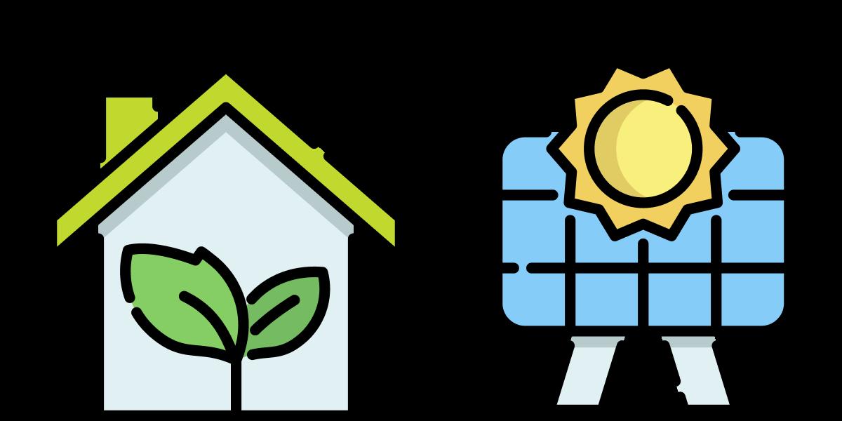 Een tekening van een huis met een een groen dak een een plantje erin en een blauw zonnepaneel met een zon er naast