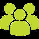 Een groene silhouetten van drie poppetjes