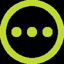 Een cirkel met drie stippen in het midden
