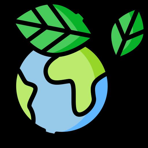 Een tekening van de aarde met een groen plantje eromheen