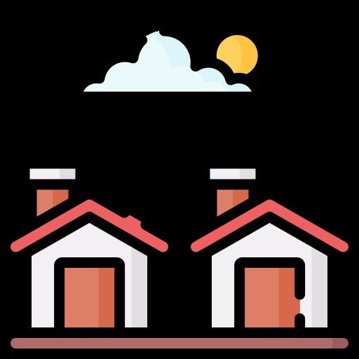 Een tekening van twee huizen met een wolkje en een zon erboven