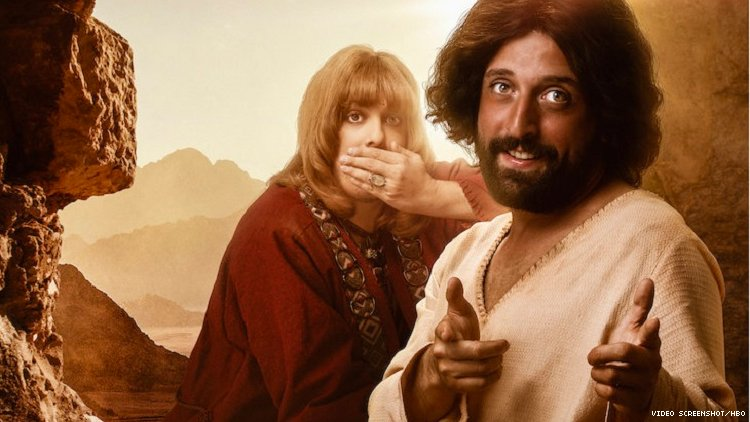 """Comedy troupe Porta dos Fundos posing in their roles as gay Jesus and his love interest for Netflix's Portuguese-speaker targeted Christmas Special """"The First Temptation of Christ."""""""