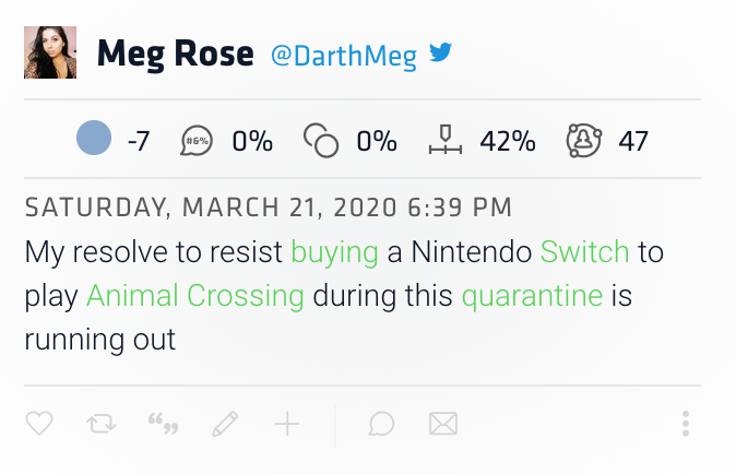 tweet reads: my resolve to resist buying a Nintendo Switch to play Animal Crossing during the quarantine is running out