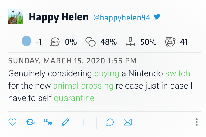 Tweet reads: genuinely considering buying a Nintendo switch for the new animal crossing release just in case I have to self quarantine