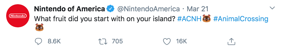 Tweet from Nintendo of America reads: What fruit did you start with on your island #ACNH #AnimalCrossing. The tweet has 86.k comments, 705 retweets, and 16k likes
