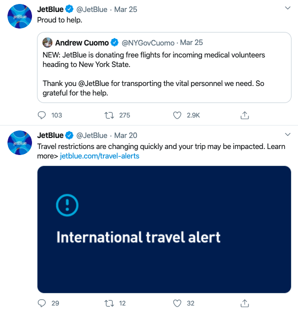 JetBlue retweeted Andrew Cuomo's tweet: New JetBlue is donating free flights for incoming medical volunteers heading to New York State. Thank you @jetblue for transporting the vital personnel we need. So grateful for the help. On top of the tweet, JetBlue says proud to help. Another tweet below this one reads: Travel restrictions are changing quickly and your trip may be impacted. Learn more> jetblue.com/travel-alerts