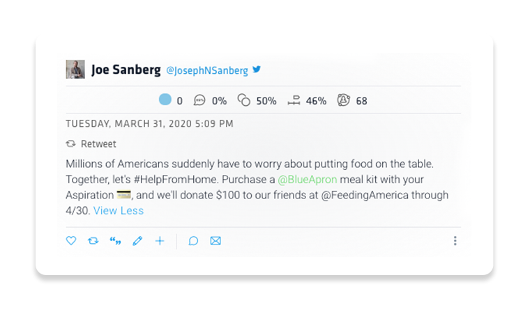Joe Sandberg's retweet reads: Millions of Americans suddenly have to worry about putting food on the table. Together, let's #helpfromhome. Purchase a @blueapron meal kit with our Aspiration card, and we'll donate $100 to our friends at @FeedingAmerica through 4/30