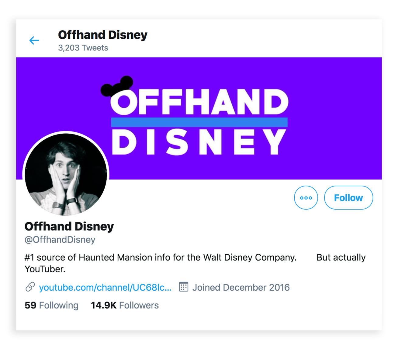 Offhand Disney's Twitter profile page has 3,203 tweets. Their cover images is a bright bluish purple. Offhand and Disney are written in all caps and the first word is on top of the other with a thick blue line separating them. On the O of Offhand is a Mickey Mouse Disney hat. The profile image is of a young man in his early 20's holding his hand against his cheeks and he looks surprised. The bio reads: #1 source of Haunted Mansion info for the Walt Disney Company. But actually youtuber