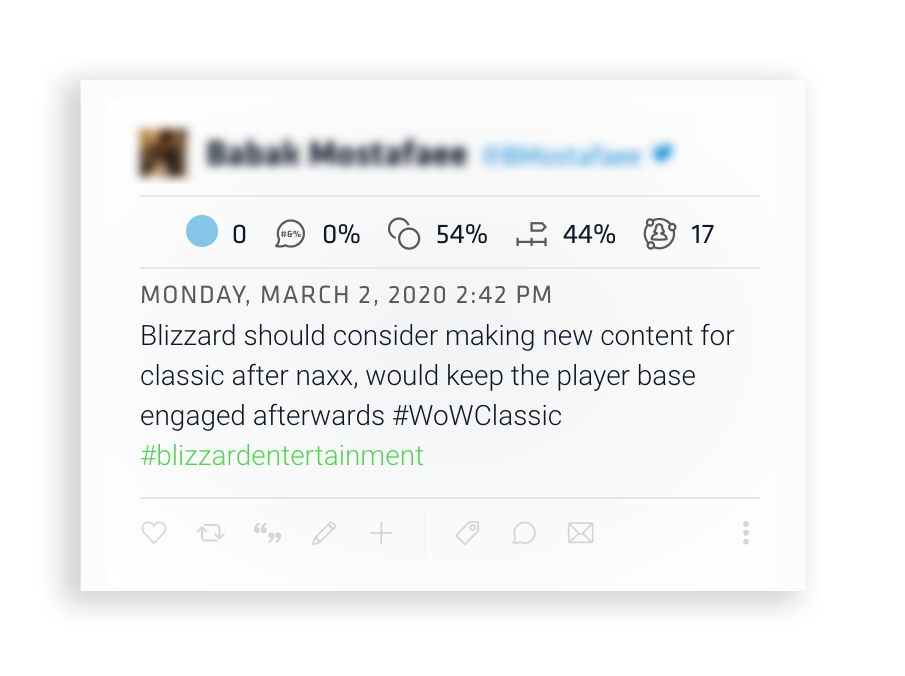 A tweet to Blizzard entertainment reads: Blizzard should consider making new content for classic after naxx, would keep the player base engaged afterwards #WoWClassic