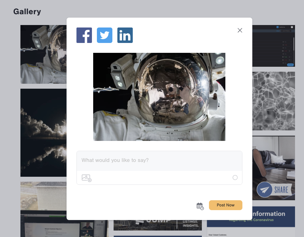 The gallery image just mentioned is greyed in an the background as the image of the astronaut is brought to the from. Three social profiles are listed next to each other in to the top left with their icons: Facebook, Twitter, and LinkedIn. Below the image is a text box for someone to write the social post. Below the message box is a calendar button and yellow button with black text saying Post Now.