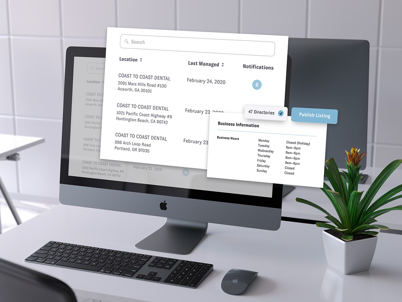 A Mac desktop has Nuvi Locate on it. The main page that lists locations and when they were last manage pops out of the screen and hovers above it and to the upper right. Another screen pops out with it. This one is smaller and lists business hours. At the top of this box is two buttons: 47 directories with a check mark next to it and a publish listing button in light blue.