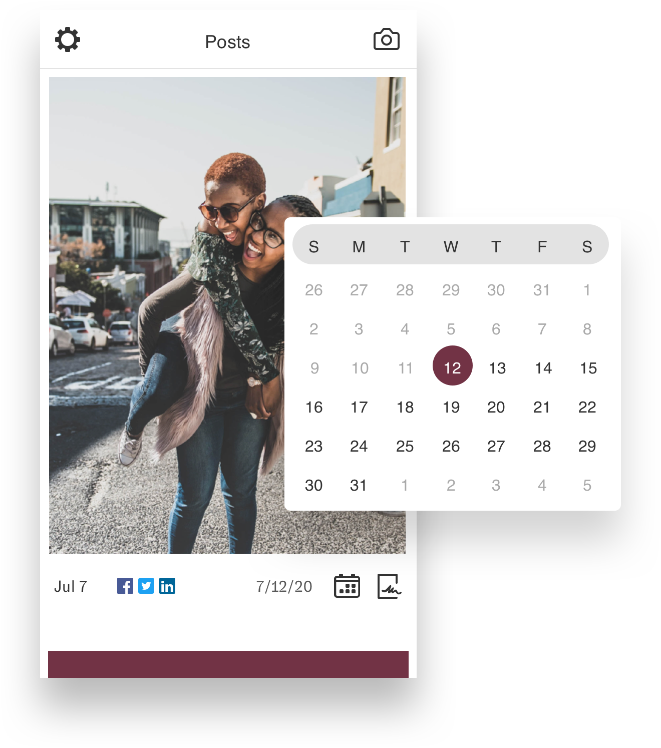 Nuvi Capture looks and functions similarly to Instagram. Take a picture, put the caption on it, getting customer signatures, and post at the day and time you set. Easy as that. For this example and image of two girls, one giving the other a piggy back, is displayed in capture. The two girls are laughing. Hovering over the image and to the right is a calendar. The dates are set up in the traditional grid pattern with the days listed above with their first letter only in a grey area