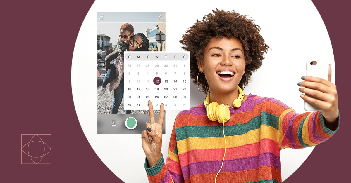 A darker skinned woman poses for a selfie while doing the peace sign with her fingers. Next to her is Nuvi Capture, for which she is taking the picture. The Capture examples next to her of two girls. One is giving the other a piggy-back ride. In front of the image is a classic calendar layout with the 12th circled in dark purple. Both the woman taking the picture at the Nuvi Capture example have a circular white background behind them. The rest of the image is a dark purple, which is the color associated with Nuvi Capture. The symbol for Capture is in the bottom left corner. It is a square with two point-tipped ovals that lay perpendicularly over each other within it.