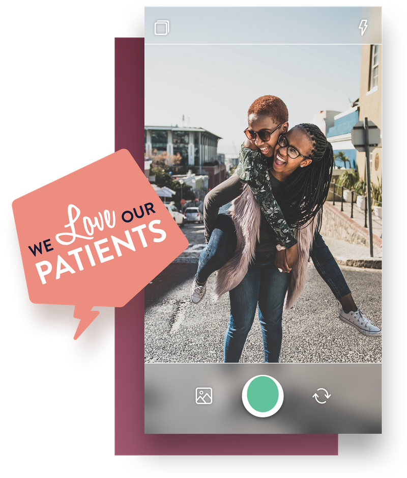 Nuvi Capture allows employee-generated content creation. This example is of two girls in the street, laughing and smiling. One is giving the other a piggyback. A rectangular purple box is behind this image. Hovering over both is a pentagonal word bubble that reads we love our patients