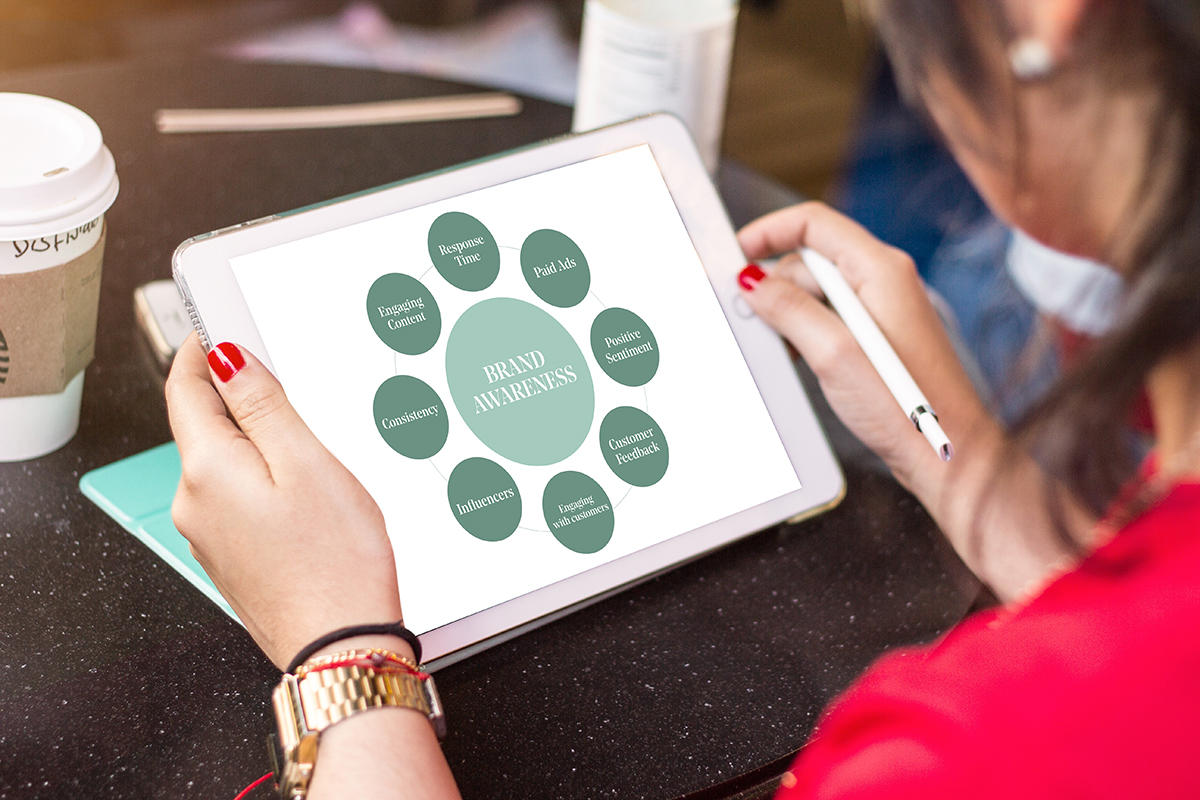This image is of a woman holding an iPad. She is reading information on Brand awareness. The diagram on the iPad screen has a large, light green circle with the words brand awareness written in white and all caps. Around the large brand awareness circle are eight darker green circles. These are components to brand awareness. We'll read them from the top going clockwise. Response time, paid ads, positive sentiment, customer feedback, engaging with customers, influencers, consistency, and engaging content