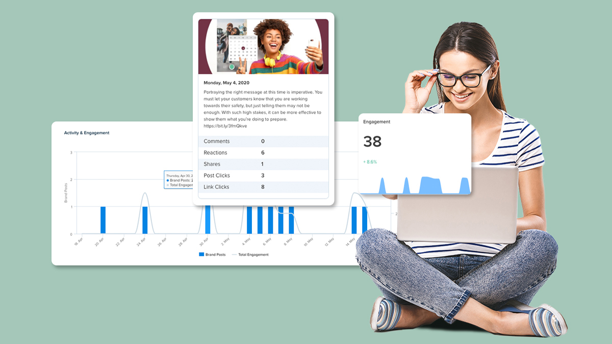 A woman sitting cross-legged with her laptop on her lap is performing a competitive analysis. Next to her are three charts of information Nuvi Analyze shows to help businesses learn more about strategy performance on social media. The first is a long bar and line graph that tracks a company's posting activity and customer engagement with those posts. This graph is described later in the article. The second is a taller image that hovers over the first. It shows the image and content of a social post along with the number of comments, reactions, shares, post clicks, and link clicks. The last graph is simply a line graph showing customer engagement over a certain period of time and whether the engagement is decreasing or increasing overall.