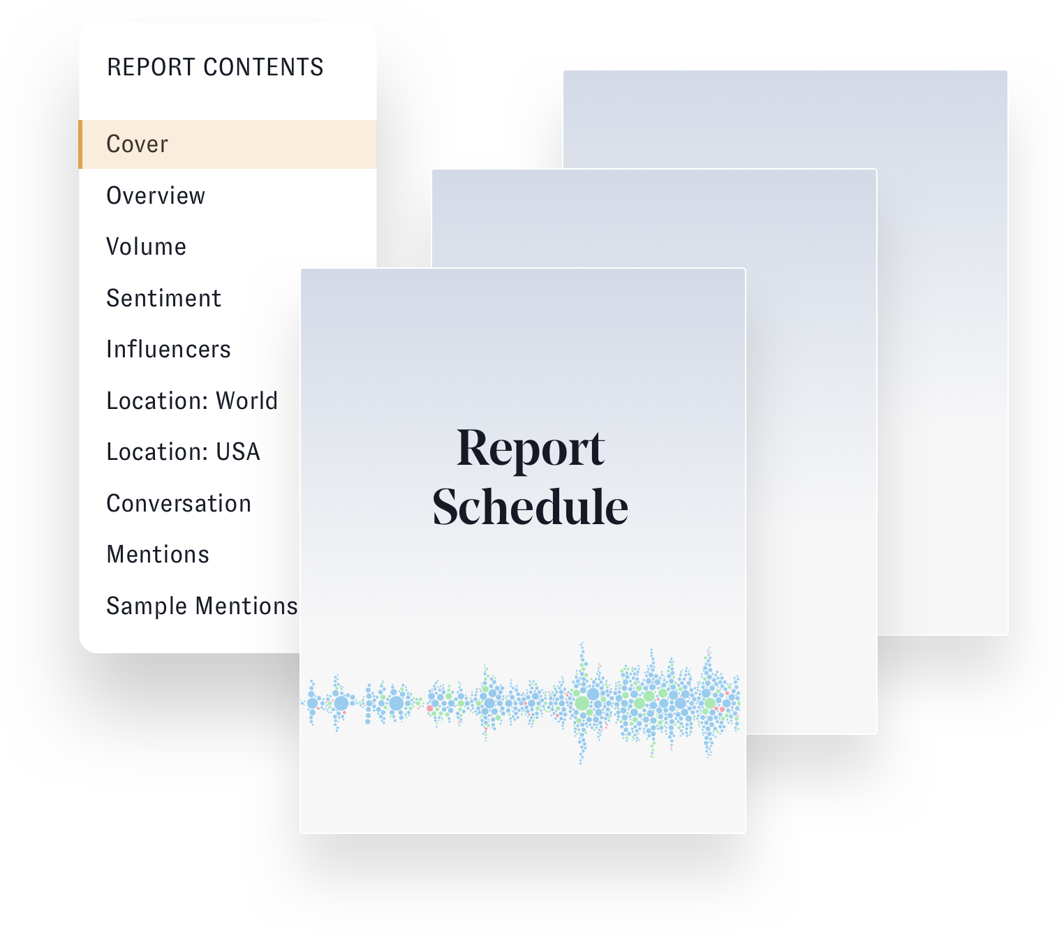 Nuvi Listen can create a report of your audience's social data. The image shows the table of contents for the reports. Sections include cover, overview, volume, sentiment, influencers, Location: world, Location: selected country, conversation, mentions, and sample mentions. The table of contents is listed to the eft in a white, rounded-edge tall rectangle. In the middle and standing lower than the table of contents box is a bluish page titled Report Schedule. This page repeats backward and staggered upwards twices.