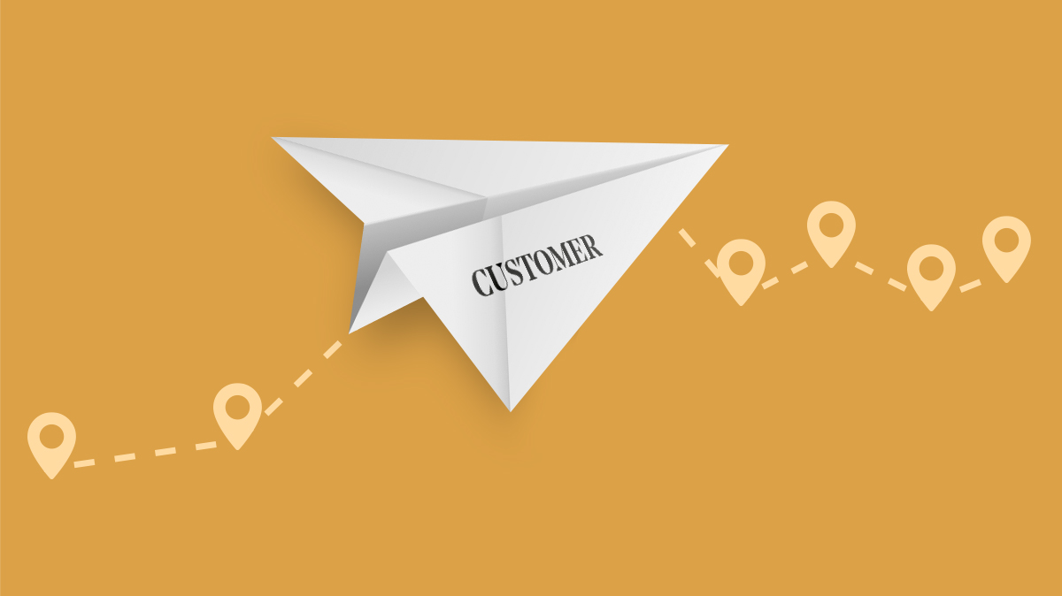 A paper airplane is flying over a yellowish orange background on a dotted line that several upside down raindrops point into along its path. The raindrop points are location markers along the paper airplanes journey. The paper airplane is labelled customer.