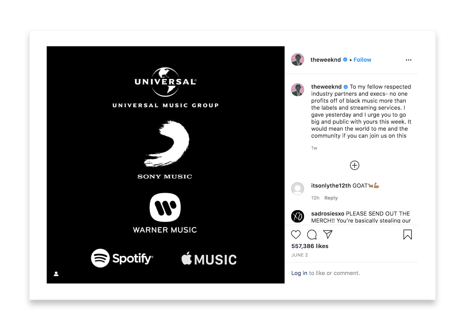 This Instagram post's image is all black except for the names and logos of Universal, Sony, Warner, Spotify, and Apple Music. The caption of the post by theweeknd reads To my fellow respected industry partners and execs- no one profits off of black music more than the labels and streaming services. I gave yesterday and I urge you to go big and public with yours this week. It would mean the world to me and the community if you can join us.