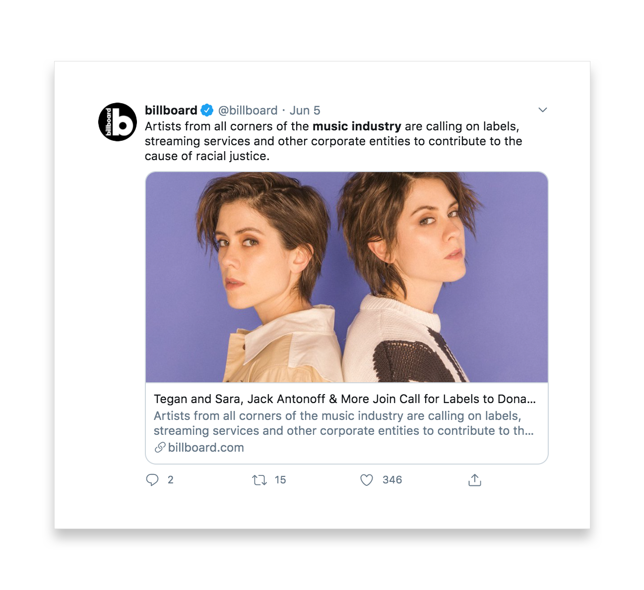 This tweet by billboard reads artists from all corners of the music industry are calling on labels, streaming services, and other corporate entities to contribute to the cause of racial justice.