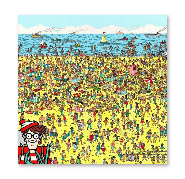A where's waldo puzzle shows a lot of people at the beach. A larger form of Waldo is in the bottom left corner with some snorkling gear.