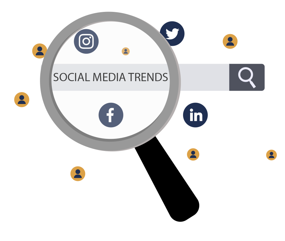 A magnifying glass over a search bar that says Social Media Trends has icons of the various social platforms hovering around them.