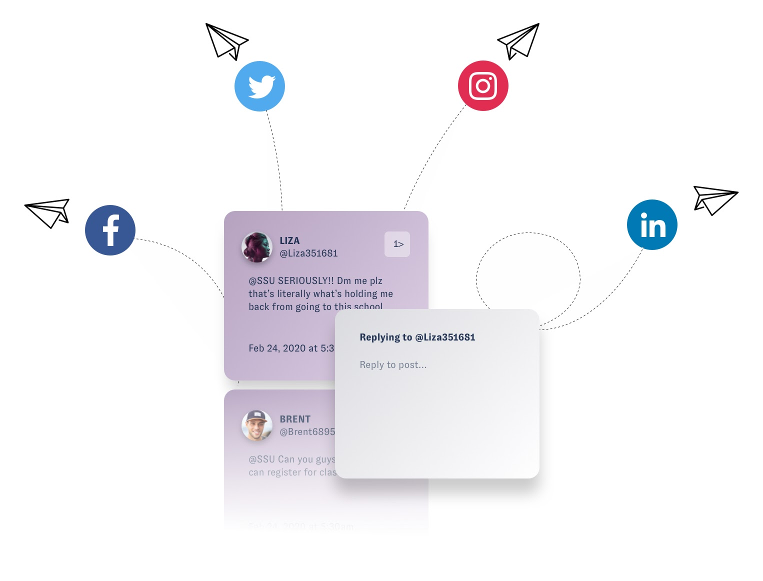 "This image shows several DM's or @mentions that a company needs to respond to. Both of these boxes are purple. A gray box over them says ""replying to @Liza351681"" which is the first of the two messages. The Engage image is connected to icons of Facebook, Twitter, Instagram, and LinkedIn with a dashed line. Next to each icon is a paper airplane."