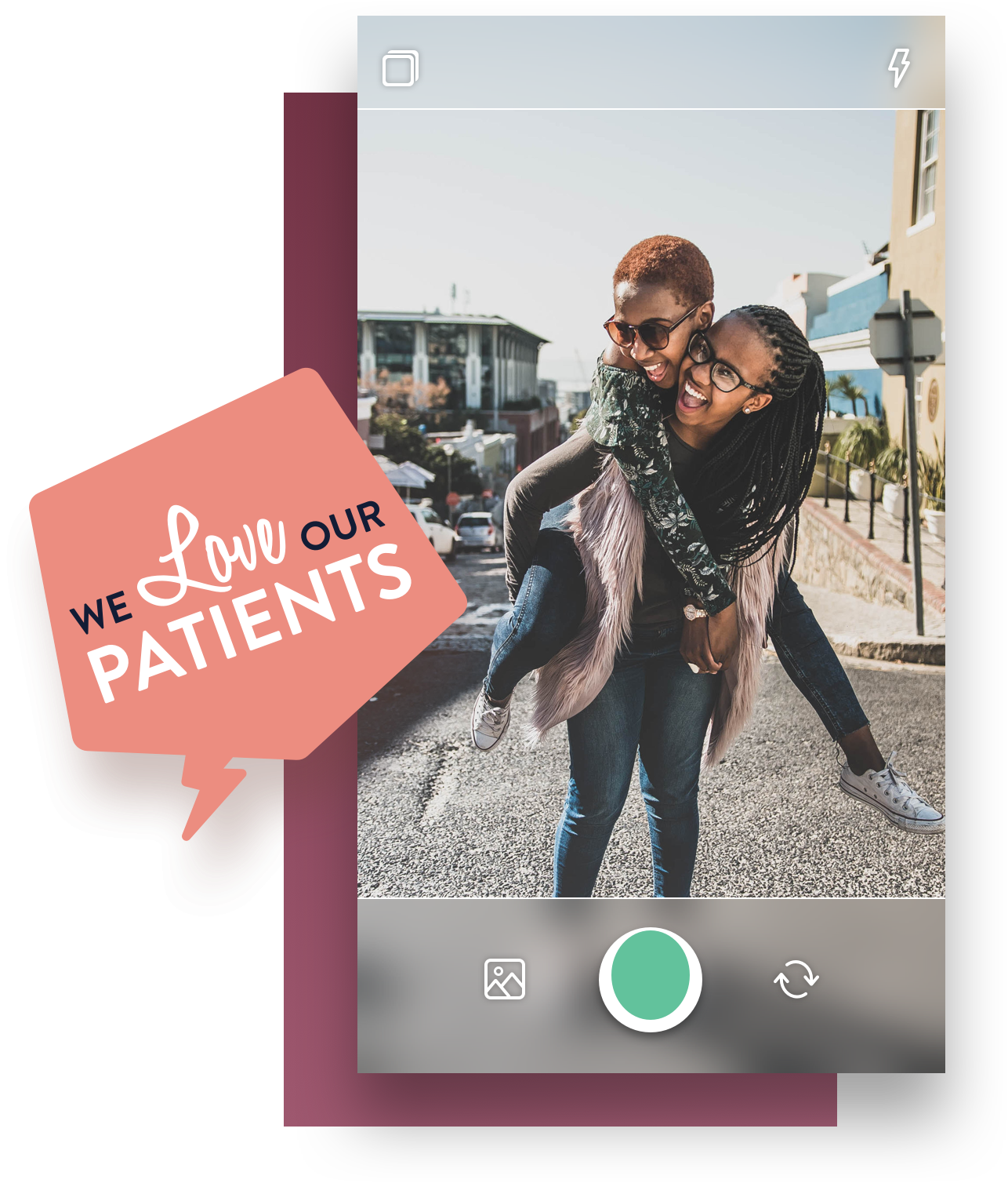 Nuvi Capture allows employee-generated content creation. This example is of two girls in the street, laughing and smiling. One is giving the other a piggyback. A rectangular purple box is behind this image. Hovering over both is a pentagonal word bubble that reads we love our patients.