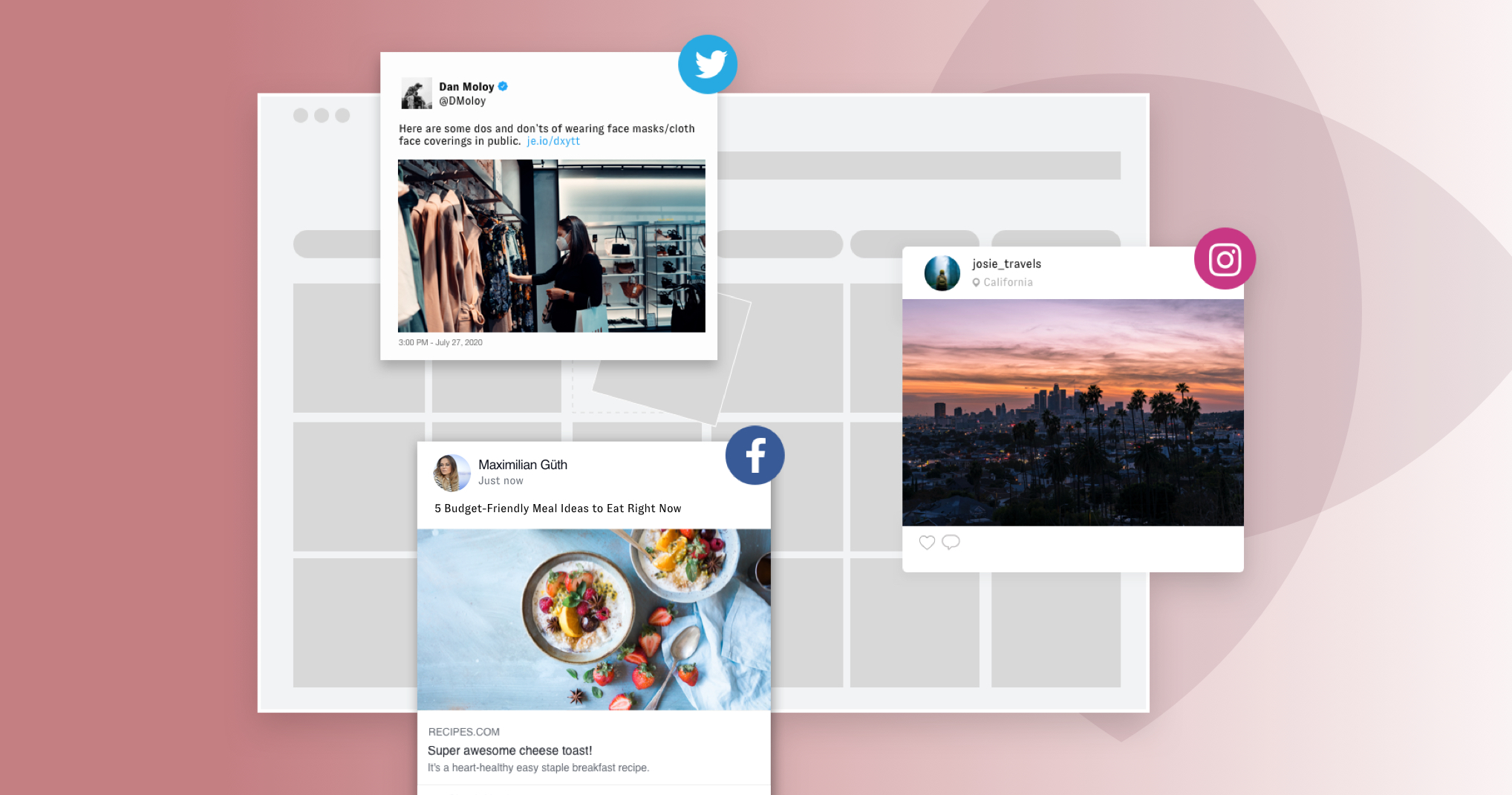 A content creation workflow with grey cards and workflow column boxes hovers over a pink gradient background (with full pink on the left side and nearly white on the right). Hovering over the workflow box are three social posts: one from Twitter, Facebook, and Instagram. The first one depicts a woman with a mask shopping for cloths. The Instagram post shows California at sunset and the Facebook post shows some budget-friendly meals. All this is gathered from user-generated or employee-generated content.