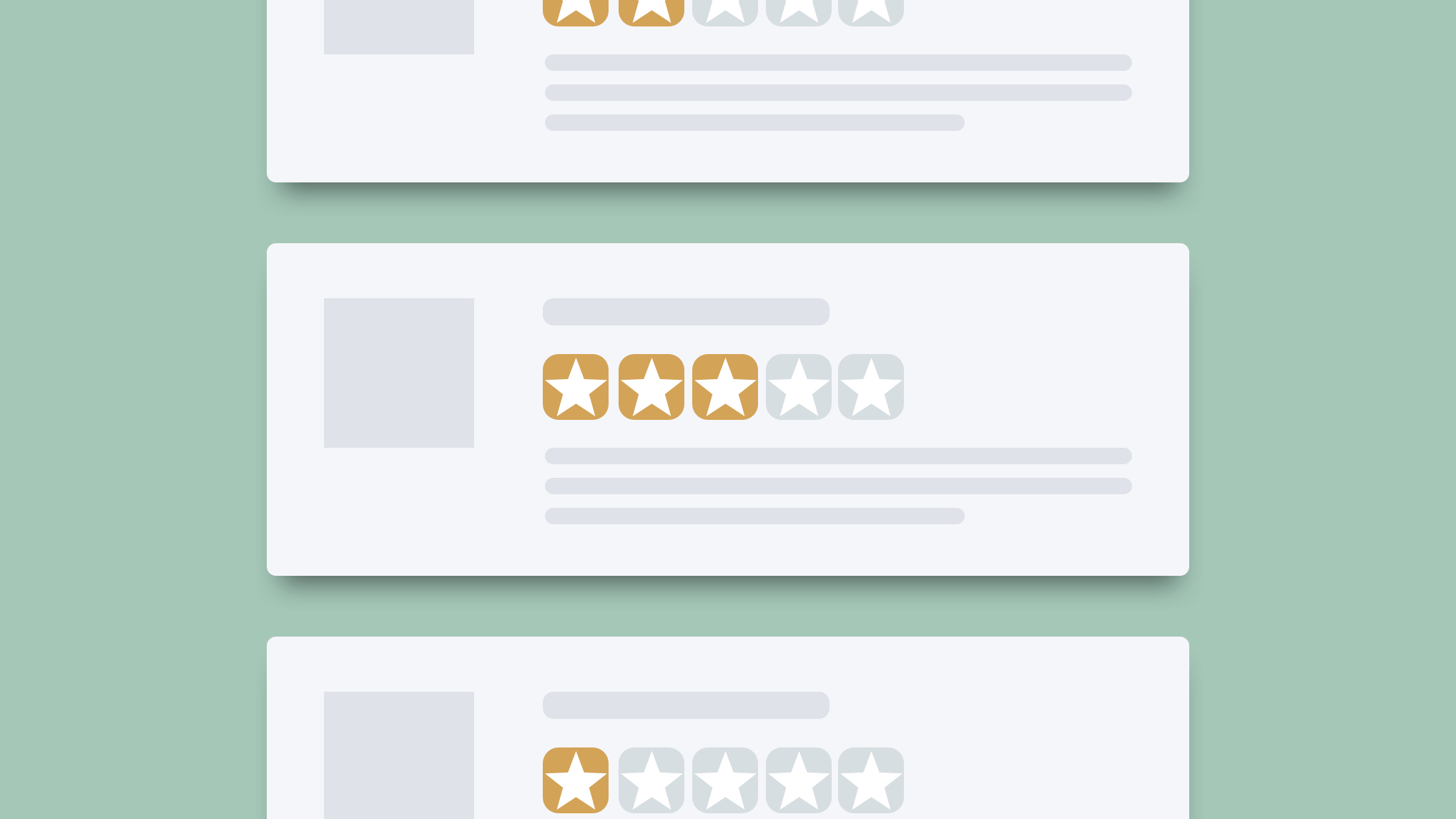 Online reputation has a lot to do with reviews, so this image is of reviews. There are three stacked on top of each other, not touching, over a green background. The top and bottom reviews are only partially showing. On each rectangular review card, all the content is replaced with grey bars to show where content would be. Each review has the star indicators of the opinion of the reviewer. The top has two stars, the bottom has one, and the middle one has three.