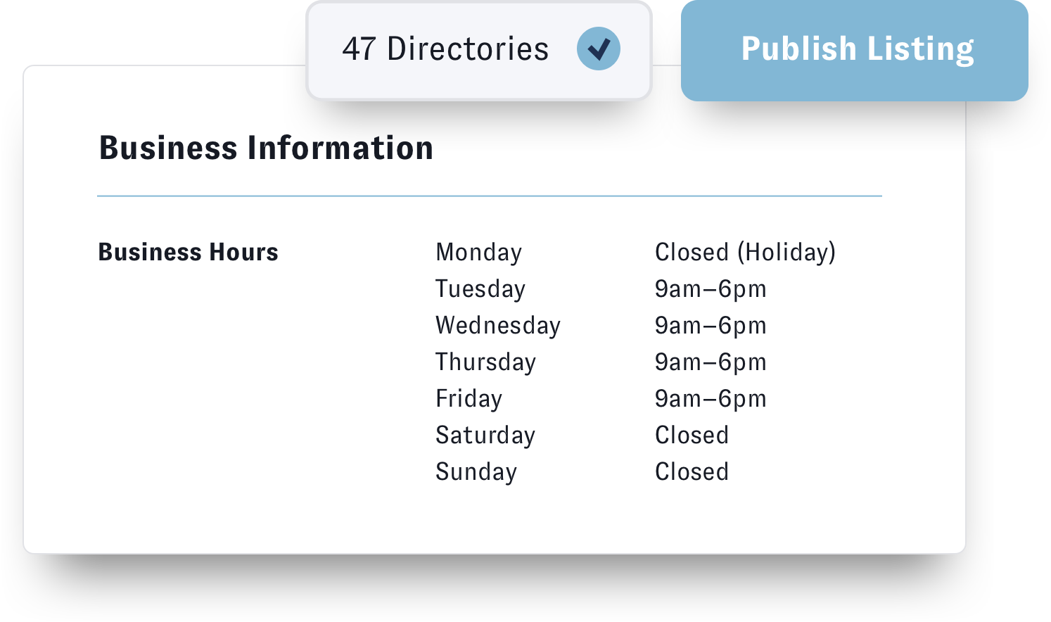 Nuvi's business listing management solution, Nuvi Locate, allows companies to keep any and all their business listings up to date all in one place. This example shows that 47 directories were updates with holiday business hours