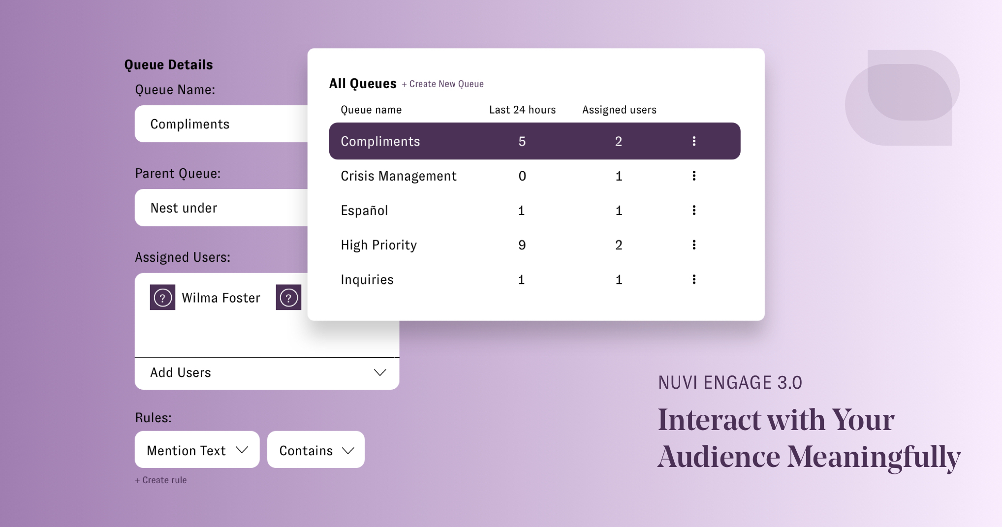 Nuvi Engage 3.0 is built to enhance customer engagement and customer experience. This image shows the total number of customer engagements and then the number of customer engagement in each queue, which in this case are: compliments, crisis management, Espanol, High Priority, and Inquiries. To the right of the box showing all the customer engagement numbers by queue are the top most recent messages within a selected queue. These messages are stacked on top of each other. Hovering over them is the response box for customer service or customer success managers to respond in. To the right of these depictions of the Nuvi Engage software is the message Nuvi Engage: Interact with your Audience Meaningfully