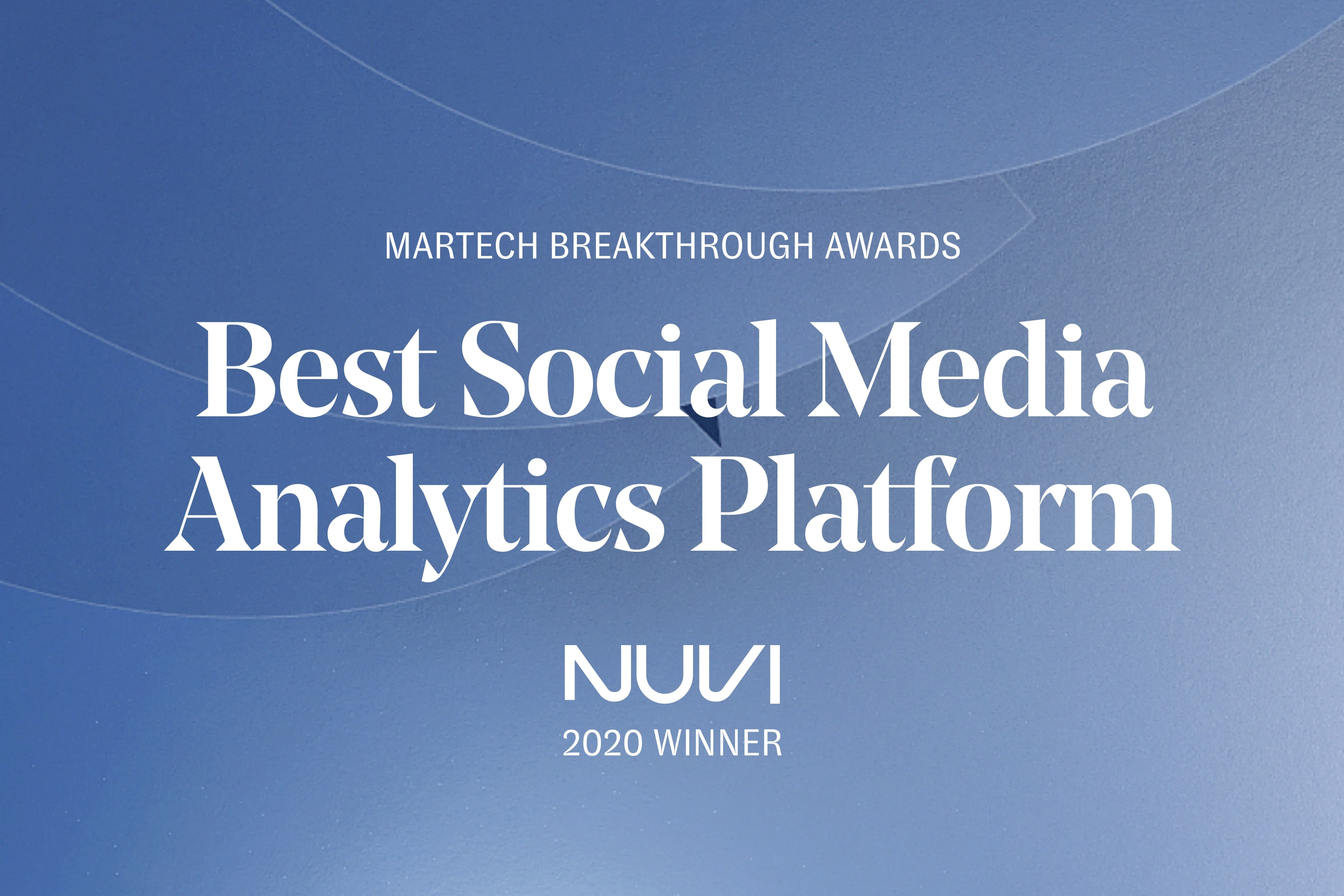 Nuvi wins best social media analytics platform. The award was given by MarTech. Nuvi is a Social Customer Experience Management platform that utilizes social media analytics and social media management software to enhance enterprise businesses' customer experience.
