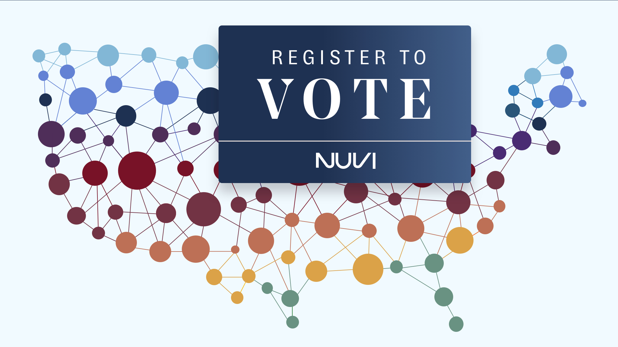 Nuvi, a social media monitoring company, uses dots with connecting lines to represent the United States. The dots vary in size and go across the whole country. On top of the country is a blue box with text that reads: Register to Vote.