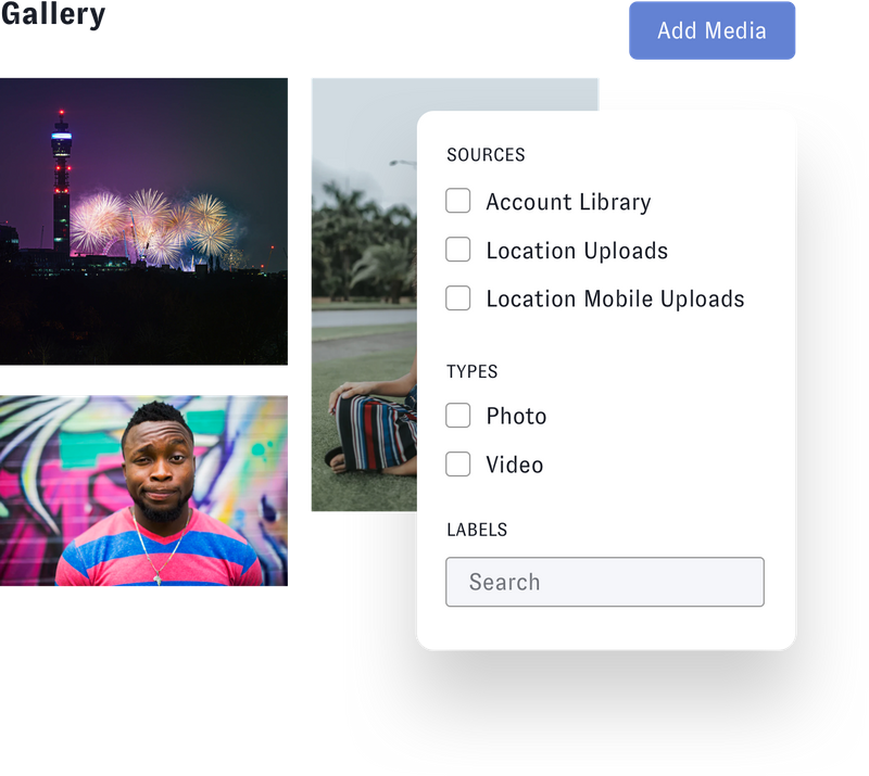 Nuvi's image gallery is where you can categorize all you images and use them again and again. They can be organized in any way. This image shows an example of Sources: Account Library, Location Uploads, Location Mobile Uploads. Then it lists the type of creative: photo or video. Then labels can be assigned to categorize the images even further.s