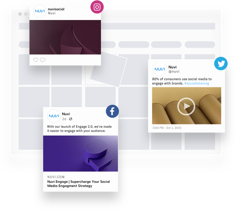 A content calendar, with grayed out boxes for the days, over the top of the calendar are three social posts with various image and text.