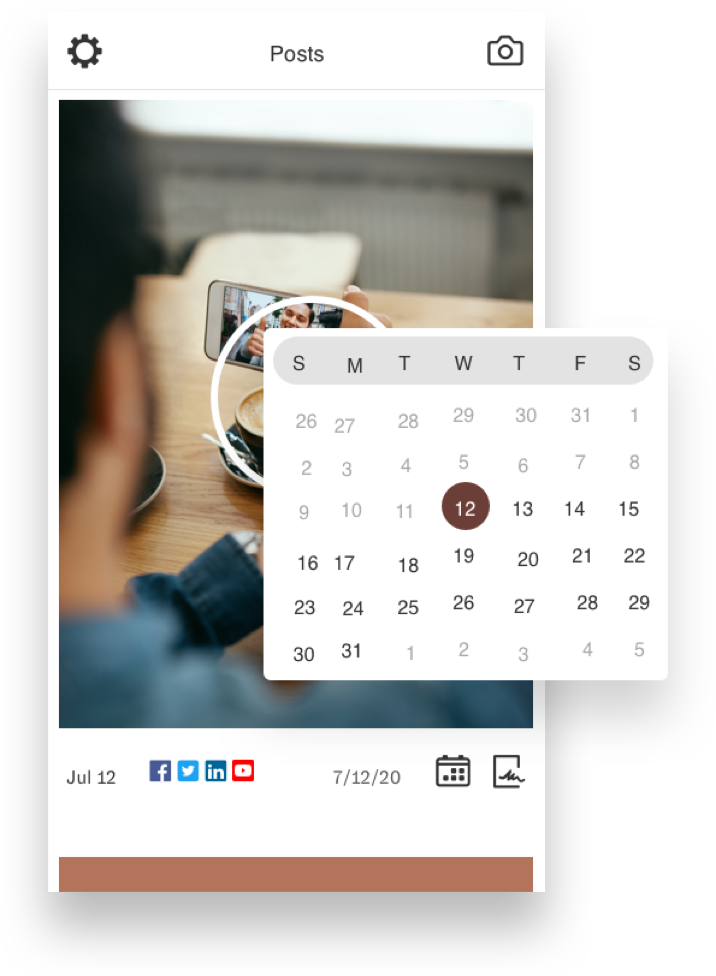 Nuvi's social media scheduler allows an enterprise business to schedule social posts whenever they wish and then simply let it publish, all without going to the native platforms. This video post is set to be scheduled on the 12 of the month. The calendar hovers over a screenshot of the paused video ad