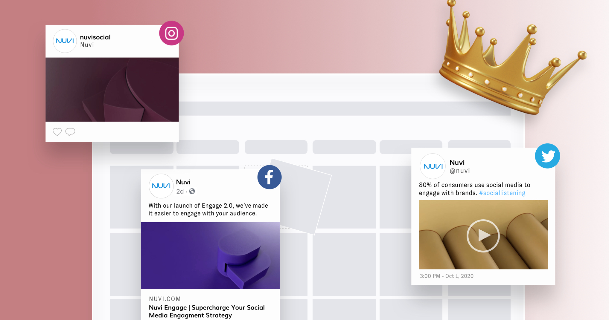 A content calendar, with grayed out boxes for the days, over the top of the calendar are three social posts with various image and text. On the top right corner is a gold crown, representing that content is king