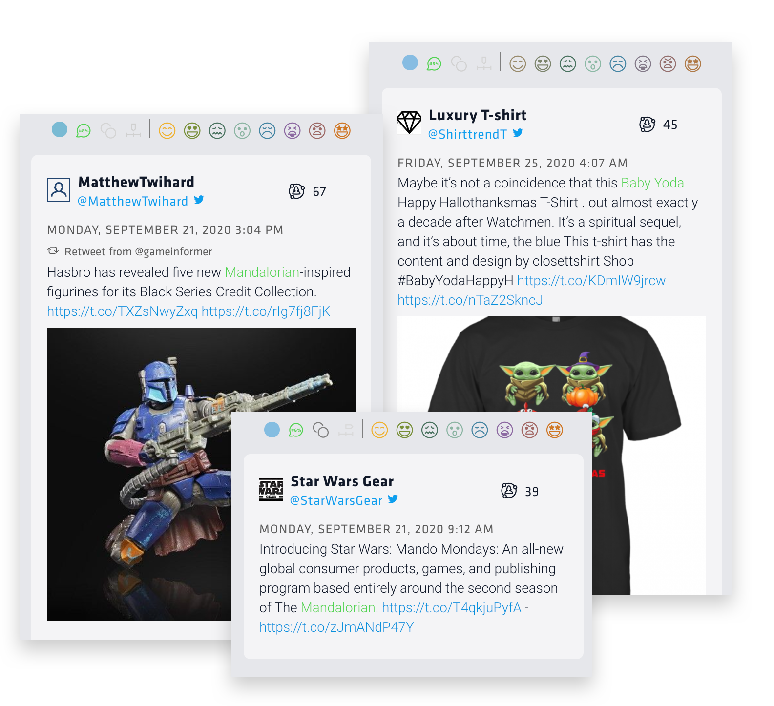 Three tweets from Nuvi's social listening platform show the popularity of Baby Yoda and The Mandalorian tv show merchandise. The first is of a Mandalorian in blue armor and a machine blaster gun. The second is a t-shirt with four Baby Yoda images for Halloween, Thanksgiving, and Christmas. The last is a tweet that reads: Introducing Star Wars: Mando Mondays: an all-new global consumer products, games, and publishing program based entirely around the second season of the Mandalorian""