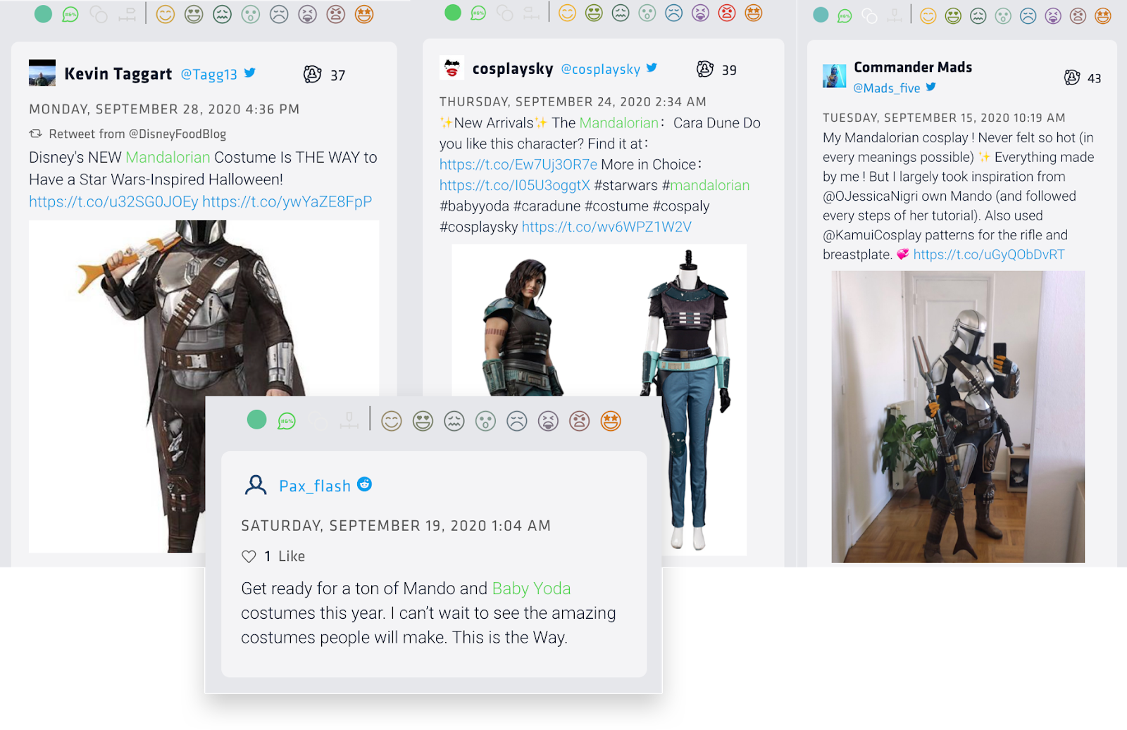 "These costume tweets were found via Nuvi's social listening platform. The first two show Disney's costumes for Mando, the main character of the Mandalorian, for Cara Dune, Gina Carano's character. The third is an image of a Mando costume a cosplay made that looks amazing. The last tweet reads: ""Get ready for a ton of Mando and Baby Yoda costumes this year. I can't wait to see the amazing costumes people will make. This is the way."