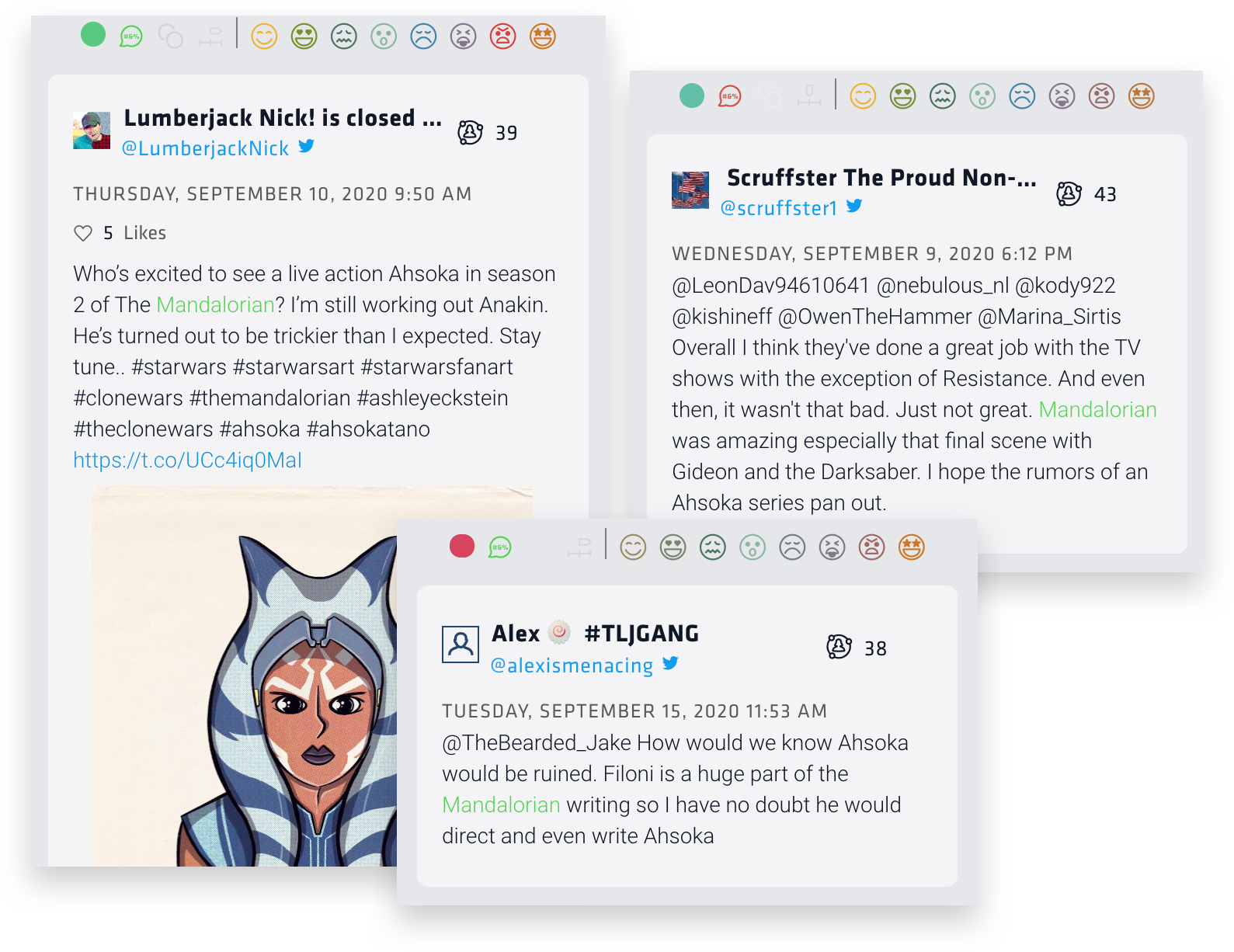 Here's three tweets talking about Ahsoka. The first is an artist sharing their fan art of the character. The second hopes they make an Ahsoka tv series. The last is a tweet in reply to another that says Ahsoka will be done well on the Mandalorian because her creator, Dave Filoni, will most likely write her character.r