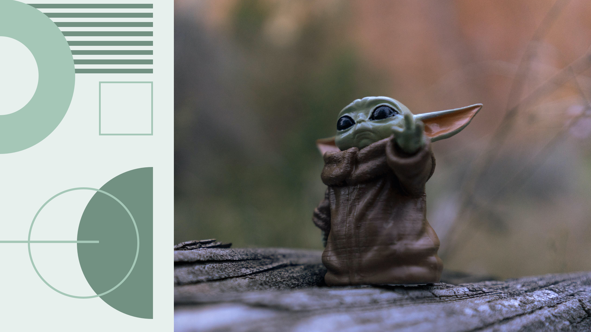A The Child (Baby Yoda) toy stands on something wooden. The toy is posed with it's left hand up and it is slightly turned away. Nuvi analyzes whether Baby Yoda and The Mandalorian will be a financial success that Disney needs after the events of 2020 with their social listening tools.