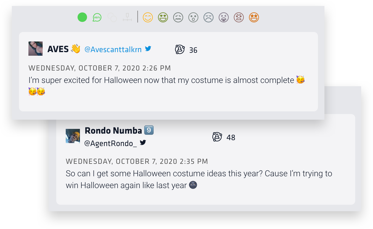 """These two tweets show the anticipation of the Halloween season. The first reads, """"I'm super excited for Halloween how that my costume is almost complete."""" The second reads, """"So, can I get some Halloween costume ideas this year? Cause I'm trying to win Halloween again like last year."""""""
