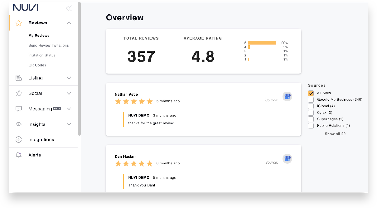 Nuvi review helps businesses to listen to and gather feedback from their audience and get positive reviews.