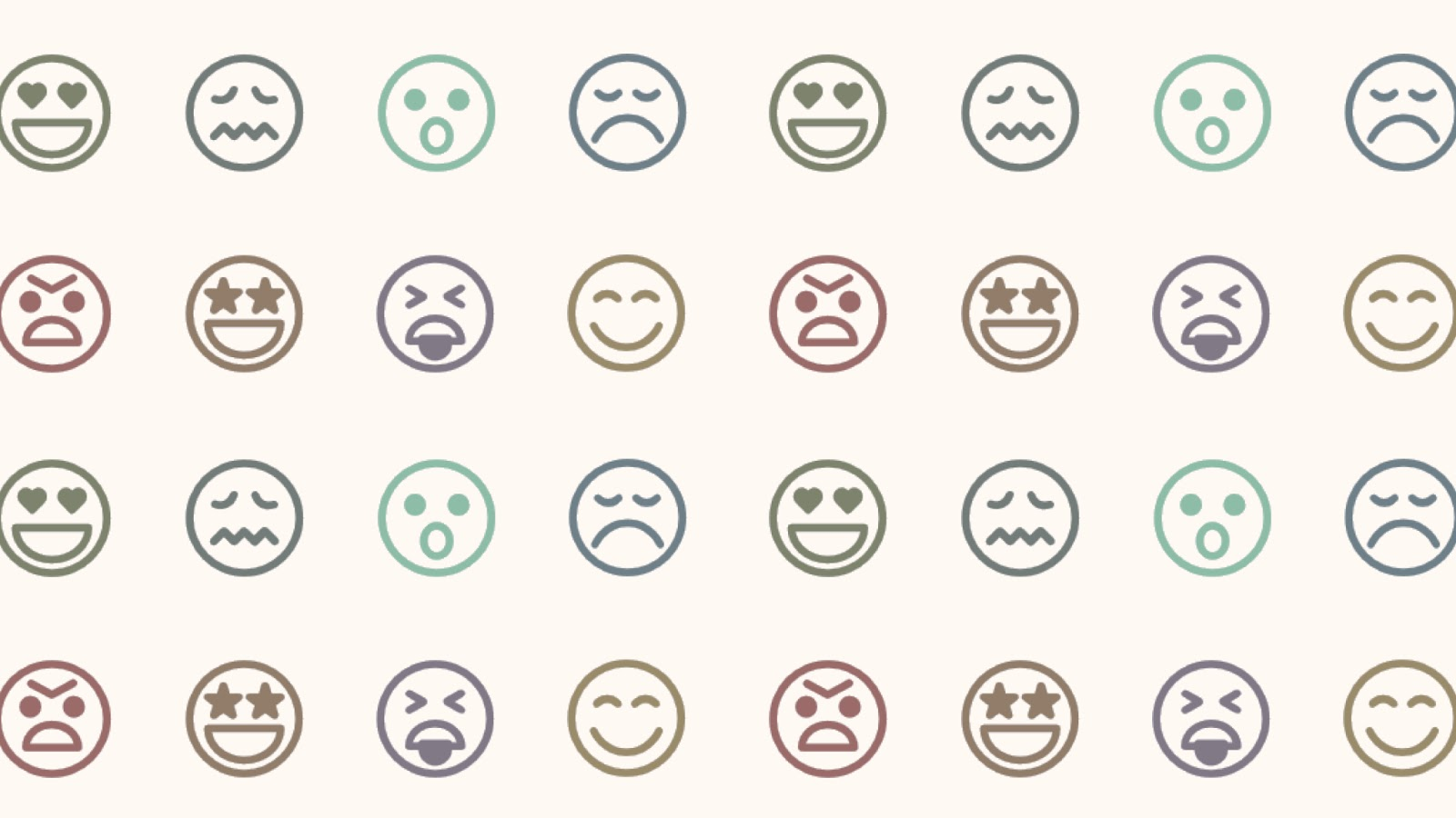 Nuvi's social customer experience management solutions help discover emotion and customer sentiment. This image displays that with four rows of eight emojis.