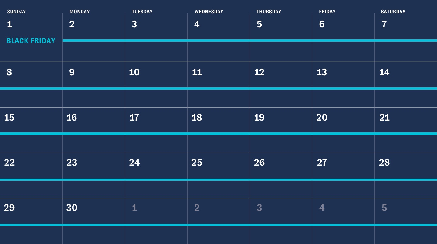 November calendar with everyday marked as Black Friday
