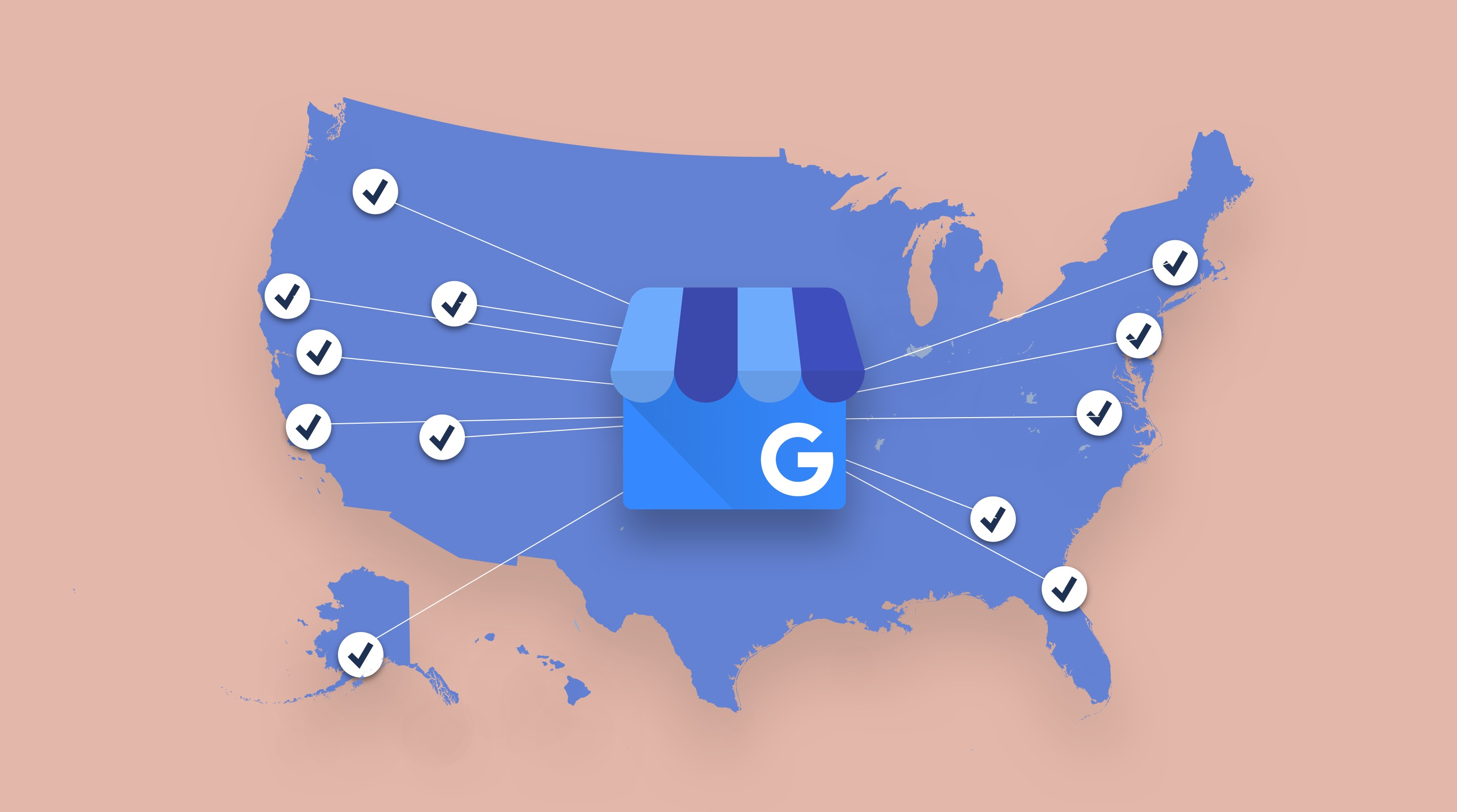 Map of US with Google My Business Publishing logo connected to multiple locations across map