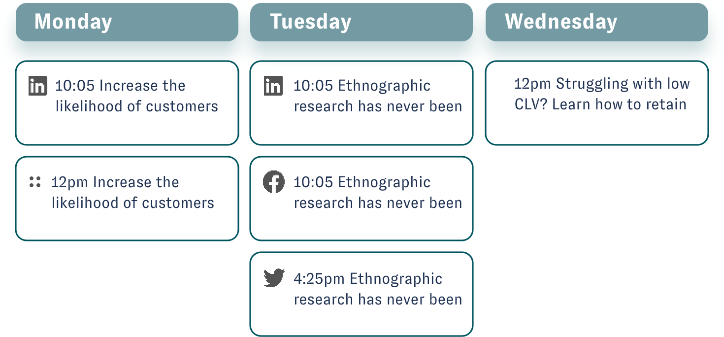 Holistic view of your social media campaign schedule